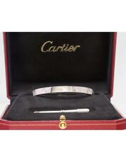 CARTIER 18k White Gold Love Bangle Bracelet Size 18 Box Certificate and Screw