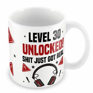 30th Birthday Mug Gamer Level Unlocked Gift For Him Her Men Funny Rude Mug