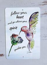 New Hummingbird Art Metal Sign - Home Decor - Inspirational Quote - Bird Art