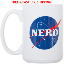 NERD NASA Coffee Mug Science Logo Funny Double-Sided Fired Ceramic LARGE 15 OZ