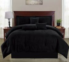 Black Micro Suede Comforter Set Queen Size Modern NEW Comforter, Skirt, Shams +
