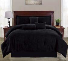 Black Micro Suede Comforter Set Queen Size Modern NEW Comforter, Skirt, Shams +