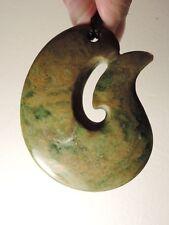 "Nephrite Maori Greenstone Pounamu Des's ""Yellow MARSDEN Flower Jade FISH HOOK"" !"