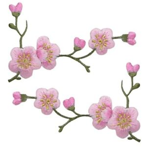 """Cherry Blossom Applique Patch Set - Branch Bloom Flower 3-1/8"""" (2-Pack, Iron on)"""