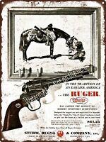 """1960 RUGER Single-Six Revolver Cowboy Horse Art Man Cave Metal Sign 9x12"""" A243"""