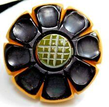 New listing Antique Vtg Button Large Carved & Laminated Bakelite Sunflower