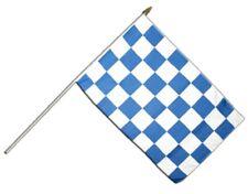 Karo Blau-Weiß Stockflagge Flaggen Fahnen Stockfahne 30x45cm