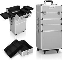 Pro Portable Makeup Case Beauty Cosmetic Trolley on Wheels Organiser 7 in 1 Silver