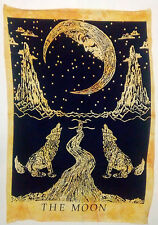 Handmade Tapestry The Moon Wolf Poster Home Decor Wall Hanging Yellow Indian Art