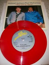 "MichaelJackson/Paul McCartney 7"" Red Vinyl -The Girl Is Mine MJ1-5  Mint"