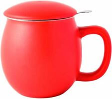 Porcelain Teacup with Infuser and Lid Matte Red
