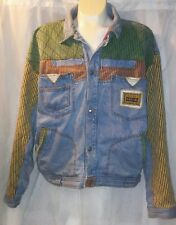 Vintage Major Damage striped patchwork lined button up denim jean jacket sz 2XL