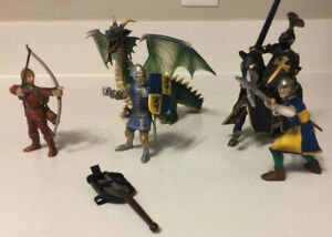 Lot Of 2003 Schleich Germany Medieval Figures Black Knight + Horse + Dragon