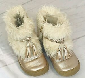Cat & Jack Girl's Size 7 Gold Glitter Boots Toddler Zippers Faux Fur Lined 908F4