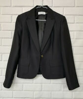 Calvin Klein Womens One Button Black Career Blazer 8 Size Lined Fitted