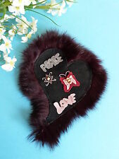 """128# SUPERBE APPLICATION """" PEACE AND LOVE """" PAPILLON FOURRURE SHABBY CHIC VINTAG"""