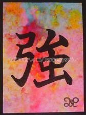 ACEO PEINTURE ORIGINALE FLUO Carte Unique Kanji Fort Tattoo Tatouage JAPONAIS