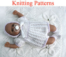 """Knitting pattern for 15-18 """" doll or newborn baby Romper Suit, Hat and Bootees"""