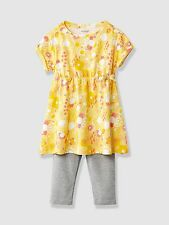 Vertbaudet Baby Girls Print Tunic Dress Leggings Outfit 3 Years BNWT Yellow/Grey