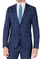 Hugo Boss Mens Suit Jacket Blue Size 38 Short Slim Fit Plaid Two-Button $445 050