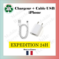 CHARGEUR SECTEUR + CABLE USB IPHONE 5/6/6S/6S+/7/7+/8/8+/X/11