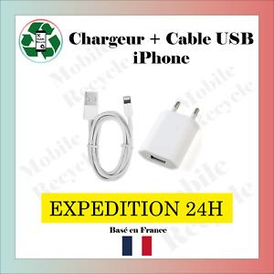 CHARGEUR SECTEUR + CABLE USB IPHONE 5/6/6S/6S+/7/7+/8/8+/X/11