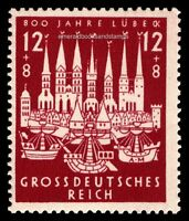 EBS Germany 1943 800th Anniversary of Hansa Port Lübeck Michel 862 MNH**