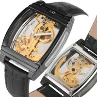 Mens Genuine Automatic Luxury Leather Mechanical Skeleton Wrist Watch Square