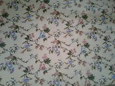 "American Heirloom beige floral print 54""x45"" 1.5 yd fabric blue pink"