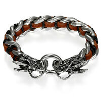 Mens Stainless Steel Bangle Bracelet Genuine Leather Double Dragon Head Clasp
