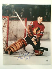 Glenn Hall autographed 16 x 20 Chicago Black Hawks photo * Hall of Famer