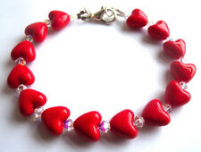 HANDMADE RED HEART VALENTINES BRACELET WITH SWAROVSKI CRYSTALS + FREE GIFT BOX