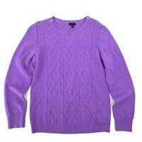 Talbots Women's Sweater Size M Purple Cableknit Crew Neck Wool Blend J2