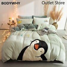 Cartoon Penguin Embroidery Velvet Bedding Set Fleece Duvet Cover Fitted Sheet