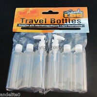 6 Travel Bottles 100ml Airport Standard Holiday Screw and Pump Tops Liquids NEW