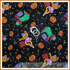 BonEful Fabric FQ Cotton Quilt VTG Black Orange Red Elmo Halloween Pumpkin Small