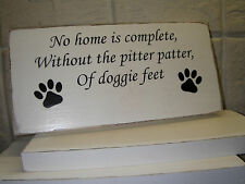 Shabby Chic Doggie Feet, Sign , Plaque. 100% Solid Wood. Beautiful Gift.
