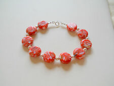"""Red Mother of Pearl Sterling Silver Bracelet - 8"""""""