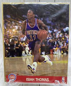 "VTG 1991 NBA Hoops 8""x10"" Glossy Action Photo of Isiah Thomas Pistons NIP Sealed"