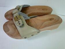 DR SCHOLL colore.sabbia in Pelle Fibbia Pescura zoccoli in legno N°40 made Italy