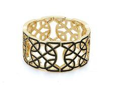 Black and Gold Tone Stretchy Enamel Bracelet
