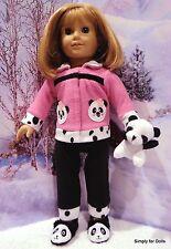 "4pc 18"" AMERICAN GIRL Doll Clothes SET Black PANTS Pink PANDA Fleece TOP & SHOES"