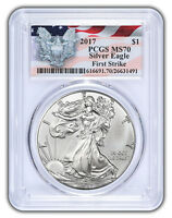 2017 Silver Eagle - Special Flag and Eagle Label - PCGS MS-70 (First Strike) - V