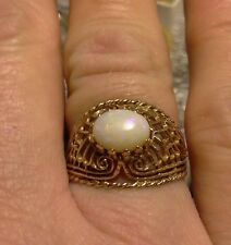 Antique 10k Gold Genuine Opal Ring Size 6.75