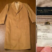 JACK VICTOR Montreal Size 46-R Light Brown Cashmere Wool Blend Coat Overcoat