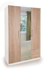 Oak / White 3 Door 2 Drawer + Mirror Wardrobe W120cm x D52cm x H187cm HUTTON