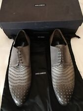 DOLCE & GABBANA CA2883 Men's Leather Pointed Derby Lace-up Shoe Grey uk 11 eu 45