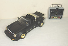 Vtg PORSCHE 911 New Bright Remote Control Car (1987) BLACK! Tested:WORKS WELL!