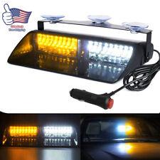 16LED Amber&White Windshield Emergency Strobe Light Interior Dash Warning Lamp