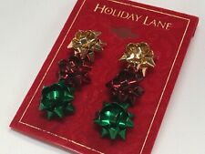 "HOLIDAY LANE Christmas Bow Ribbon 3 Colors Earrings 3/4"" Macy's New M933"